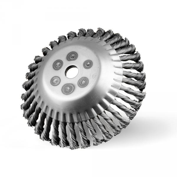 Szczotka tarczowo-kątowa Ø 200 z otworem Ø 20, splatana z drutu stalowego Ø 0,50