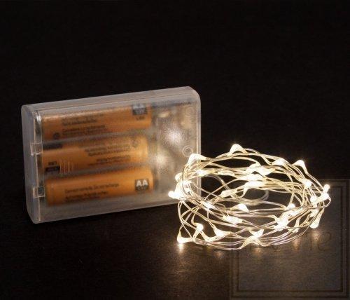 Microlight LED - 2 m - 40 warmweiße Lampen - silber  Draht - Batterien nicht im Lieferumfang enthalten