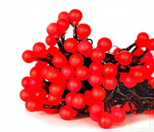 Cherry Light LED - 12 m - 120 rote Lampen - grün  Draht - 24 V