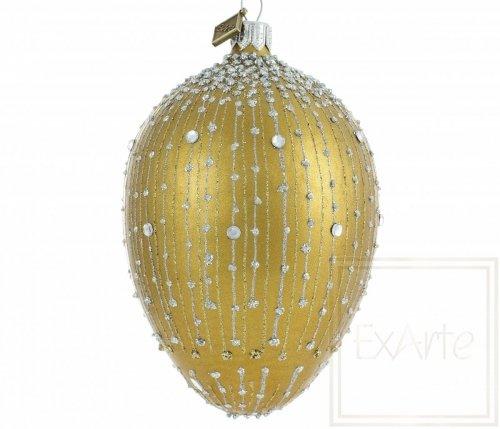 Deko Ei 13cm - Goldener Diamantregen
