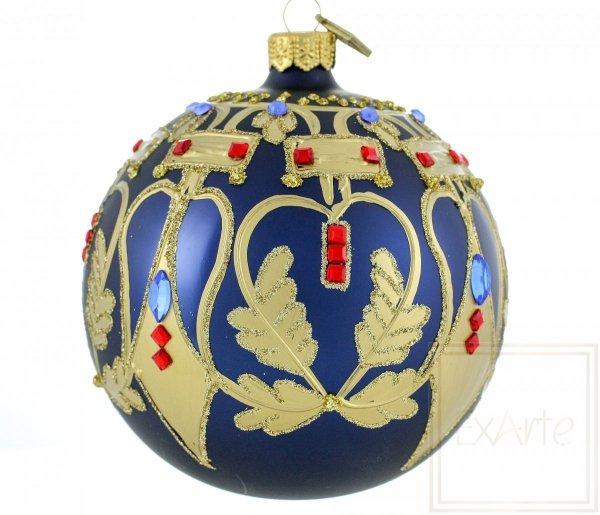 granatowa kula bombka szklana / Ball von 10cm - Schönheit der Symmetrie