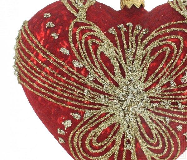 czerwone serce 12 cm / Herz 12cm - gewebt mit Gold