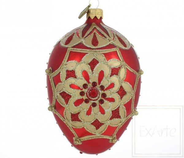 Jajko 13cm - Rubinowa rozeta, Ei 13cm - Rubinrosette, Egg 13cm - Ruby Rosette