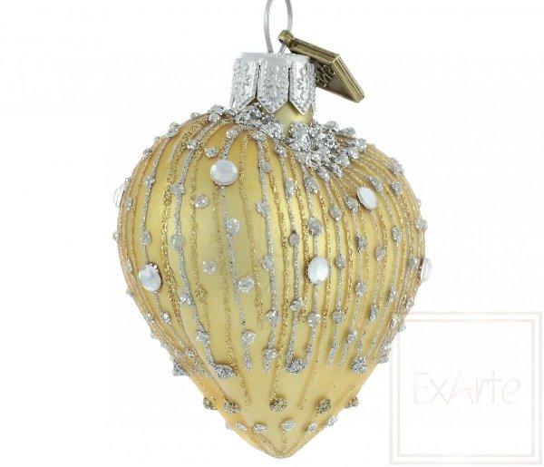 Weihnachtskugeln golden Herz, bombka złote serce, golden heart Christmas balls
