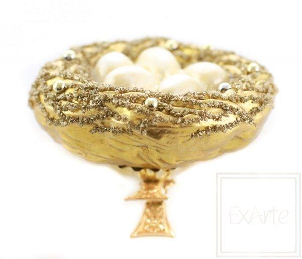bombka ręcznie malowana złote gniazdo