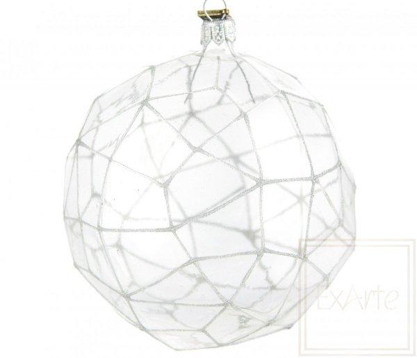przezroczysta bombka srebrne dodatki / Polygon 12,5cm - silbriges Netz