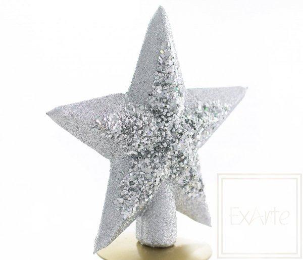 srebrna gwiazda czub na choinkę