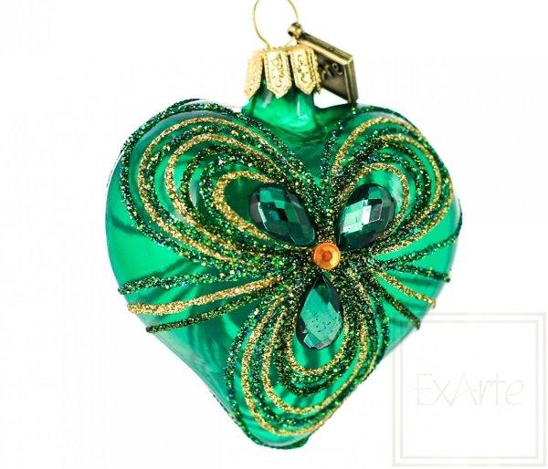 Herz 5 cm – Smaragd-Stickereien