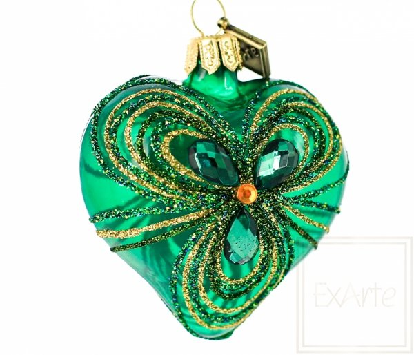 zielone serduszko bombka szklana