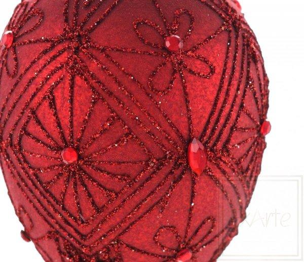 karminowa bombka ze szkła