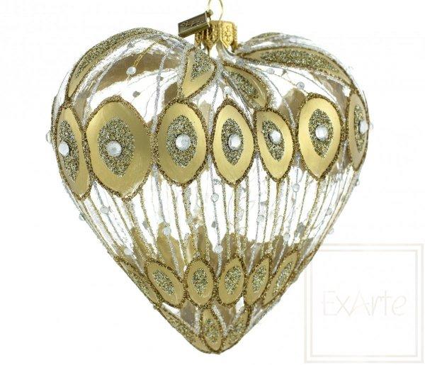szklana bombka choinkowa serce / Glaskugeln große Herzen / Big heart glass bauble