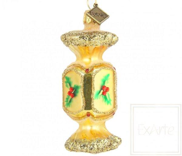 Szklana bombka cukierek, Süßigkeit 7,5cm - Überraschung in Gold