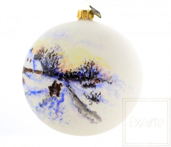 zimowe pejzaże bombki malowane ręcznie