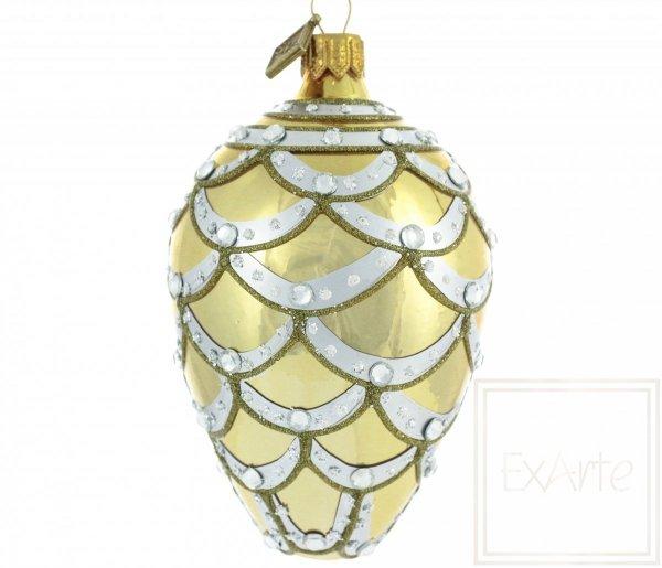 złote bombki szklane ręcznie malowane / Ei 11cm - Kaskade aus Gold