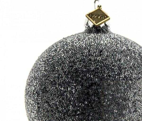 czarna bombka choinkowa szron / Ball 8cm - Perl Frost auf Schwarz
