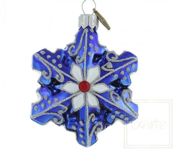 bombka niebieska śnieżynka, Blaue Schneeflocke