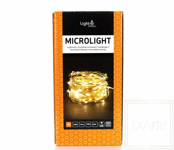 Lampki ozdobne Mikrolight LED na miedzianym przewodzie - długość 12m