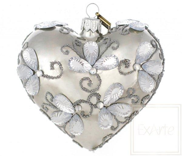 perłowa bombka szklana serce