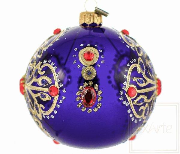 zdobiona bombka świąteczna kobaltowa