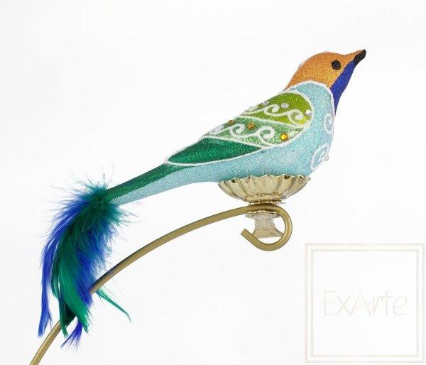 bombka z piórami / Blauer Vogel - 9cm
