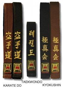 Pasy z haftem KARATE-DO wzmacniane