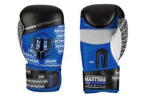 Rękawice bokserskie  RBT-CROSS 10 oz  -skóra naturalna niebieskie