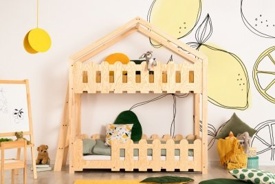 Kaiko B 90x160cm Łóżko piętrowe dziecięce domek Mila ADEKO