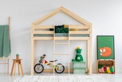 DMPA 80x170cm Łóżko piętrowe dziecięce domek Mila ADEKO