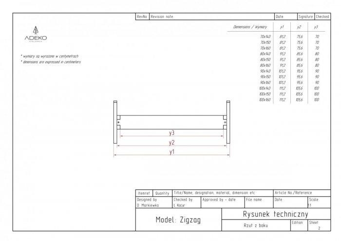 Zig 70x150cm Łóżko młodzieżowe ADEKO