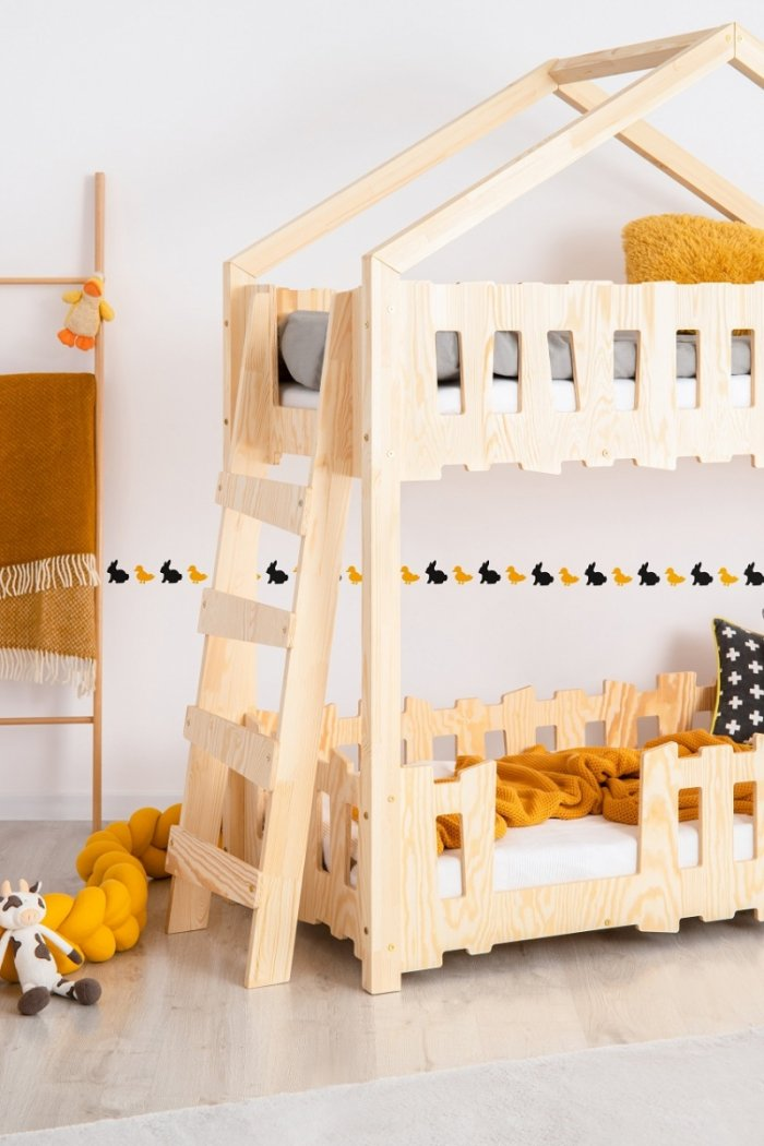 Zippo B 80x140cm Łóżko piętrowe dziecięce domek Mila ADEKO
