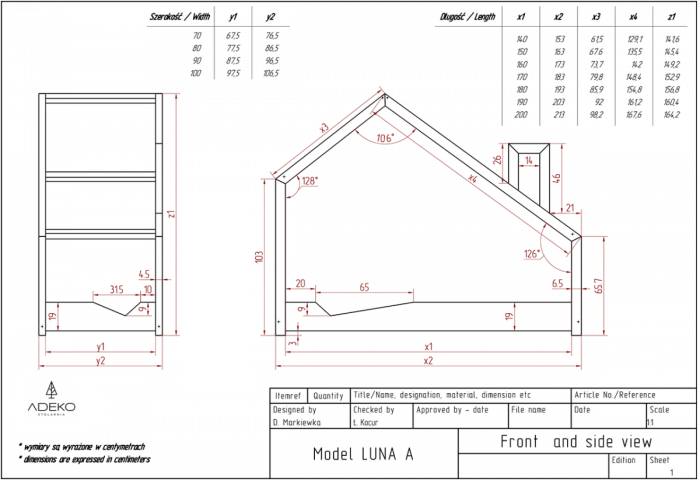 Luna A 100x180cm Łóżko dziecięce domek ADEKO
