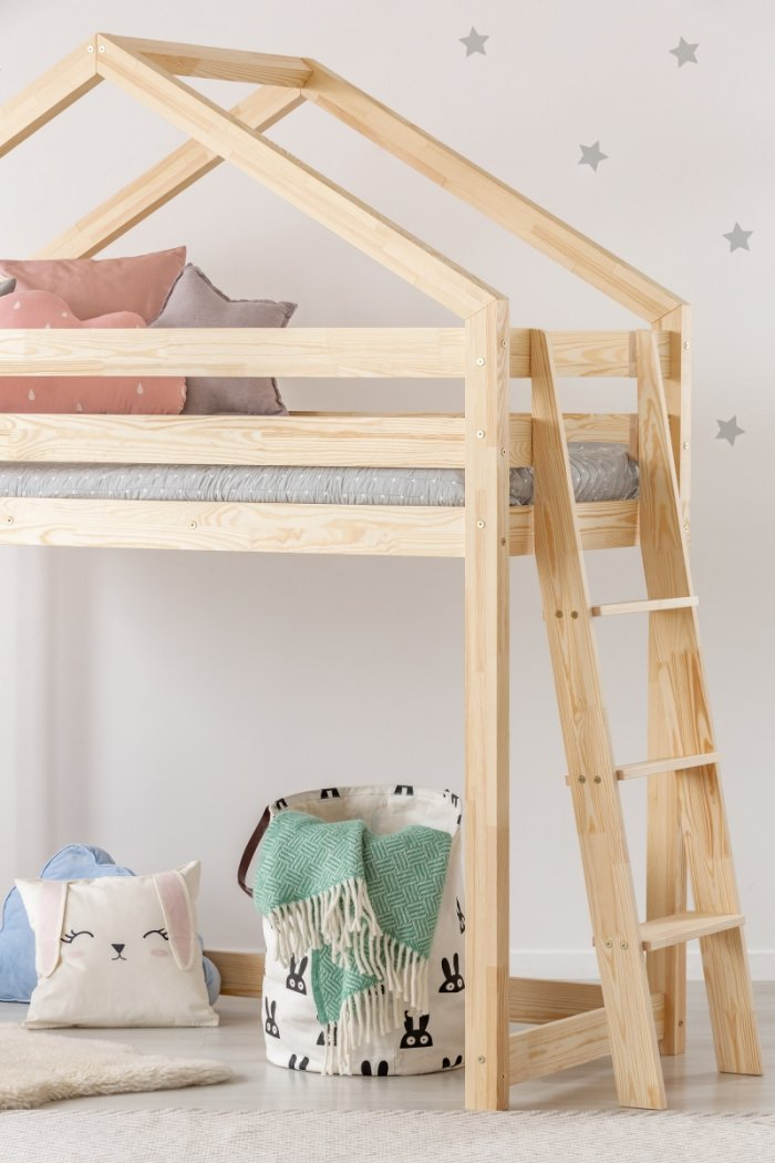 DMPBA 80x190cm Łóżko piętrowe dziecięce domek Mila ADEKO