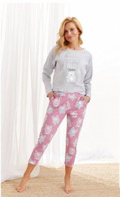 Taro Molly 2314 AW/20 - Kolor 02 - Szary jasny-różowy piżama damska