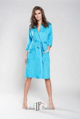 Italian Fashion megan ręk 3/4 turkusowy szlafrok damski