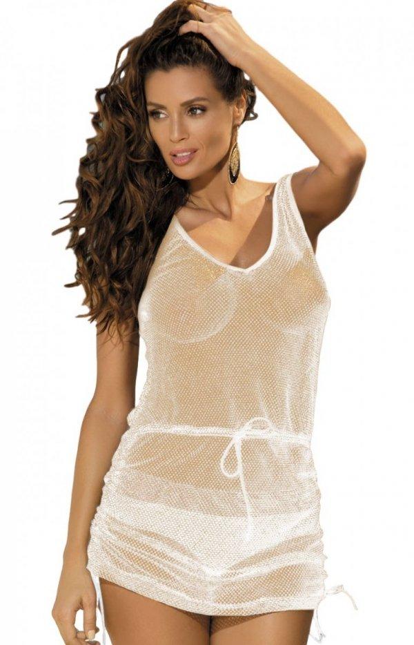 Sukienka plażowa Marko Rose M-382 Bianco-Złoto