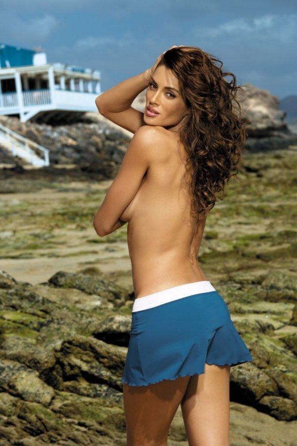 Spódniczka plażowa Marko Meg Indigo-Bianco M-266 Ciemny turkus z bielą (294)