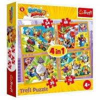 Puzzle Super Zings 4w1 Bohaterowie Trefl 34343