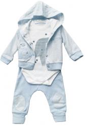 Wyprawka Niemowlęca 3 częściowa Body Bluza z kapturem Spodnie Paski Błękitny