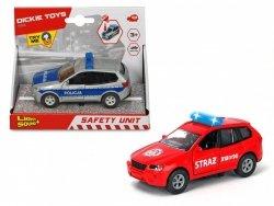 Pojazd SOS Policja/Straż 12 cm Światło Dźwięk Dickie 3712011