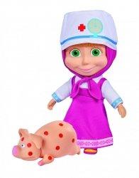 Masza i Niedźwiedź Lalka Masza w Stroju Doktora z Chorą Świnką 23 cm Simba 9301081