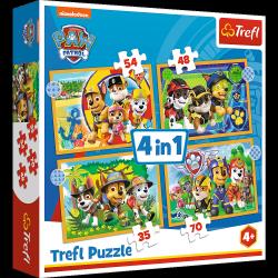 Puzzle 4w1 Wakacyjny Psi Patrol 12/15/20/24 el. Psi Patrol Paw Patrol Trefl 34395