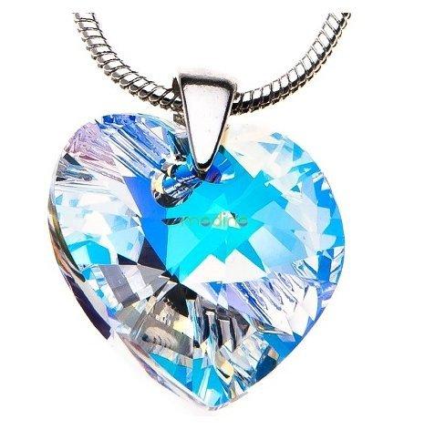 biżuteria srebrna łańcuszek serduszko Swarovski Elements