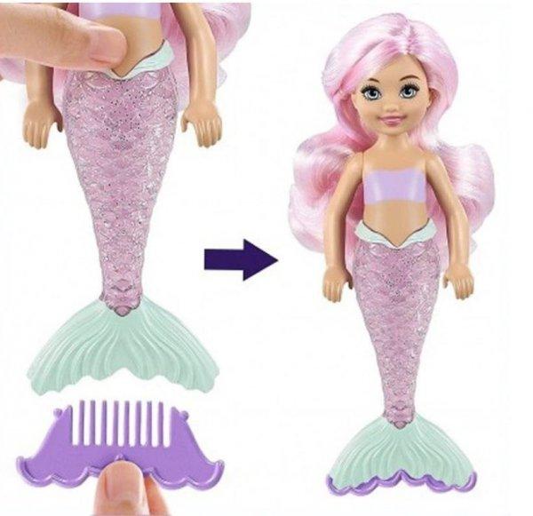 Lalka Barbie Chelsea w Tubie Kolorowa Niespodzianka Syrenka Mattel GTP53