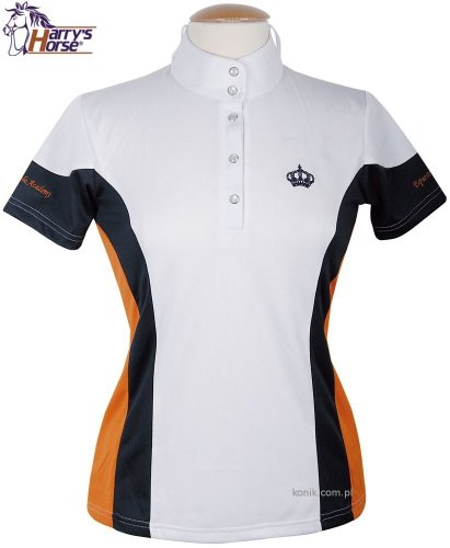 Koszulka konkursowa młodzieżowa CAMBRIDGE white-navy-orange - HARRY'S HORSE