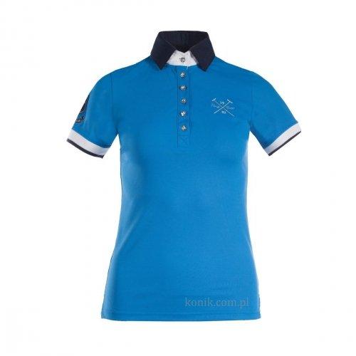 Koszulka polo konkursowa INES niebieska junior - HORZE