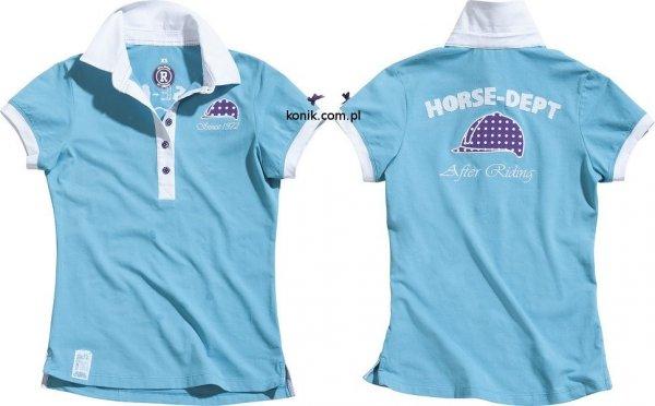 Koszulka polo HORSE DEPT turkusowa - EKKIA