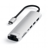 Satechi USB-C Slim Multiport Ethernet HUB - HDMI 4K / USB 3.0 / USB-C(PD) / microSD / SD / Ethernet / Silver (srebrny)