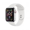 Apple Watch Series 4 / GPS + LTE / Koperta 44mm ze stali nierdzewnej w kolorze srebrnym / Pasek sportowy w kolorze białym