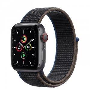 Apple Watch SE 40mm GPS + LTE (cellular) Aluminium w kolorze gwiezdnej szarości z opaską sportową w kolorze węgla drzewnego - nowy model - outlet