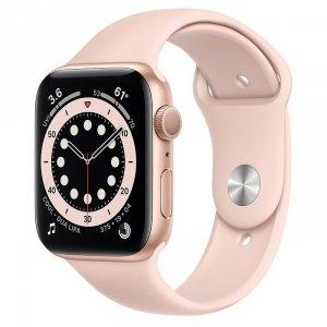 Apple Watch Series 6 44mm GPS Aluminium w kolorze złotym z paskiem sportowym w kolorze piaskowego różu